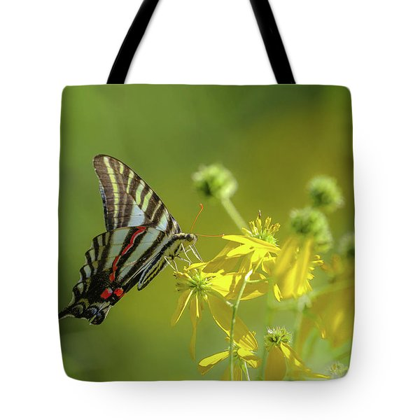 Tote Bag featuring the photograph Zebra Swallowtail Butterfly by Lori Coleman