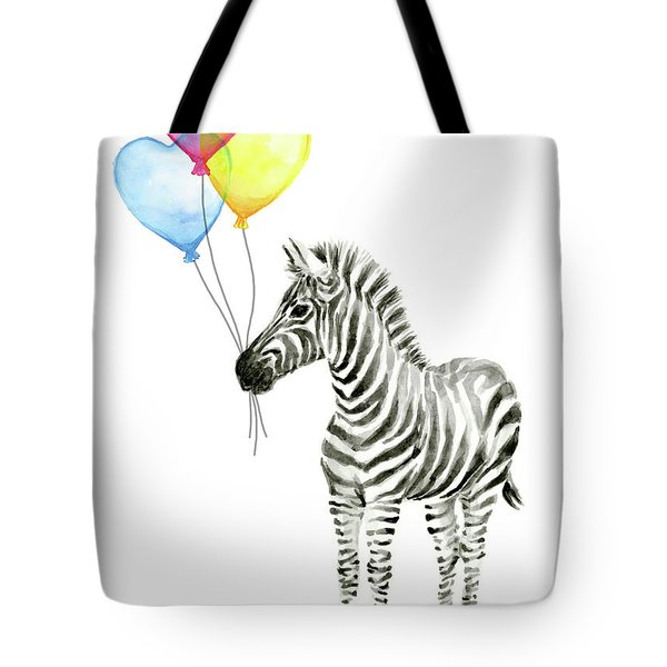 Baby Zebra Watercolor Animal With Balloons Tote Bag