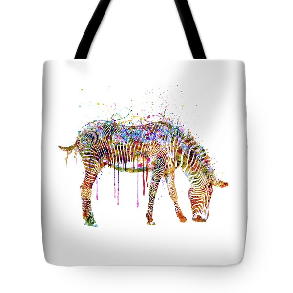 Zebra Watercolor Painting Tote Bag by Marian Voicu