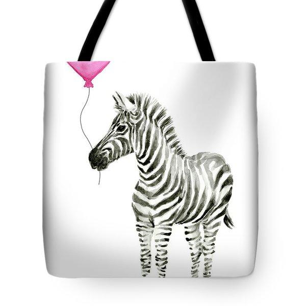 Zebra Watercolor Whimsical Animal With Balloon Tote Bag