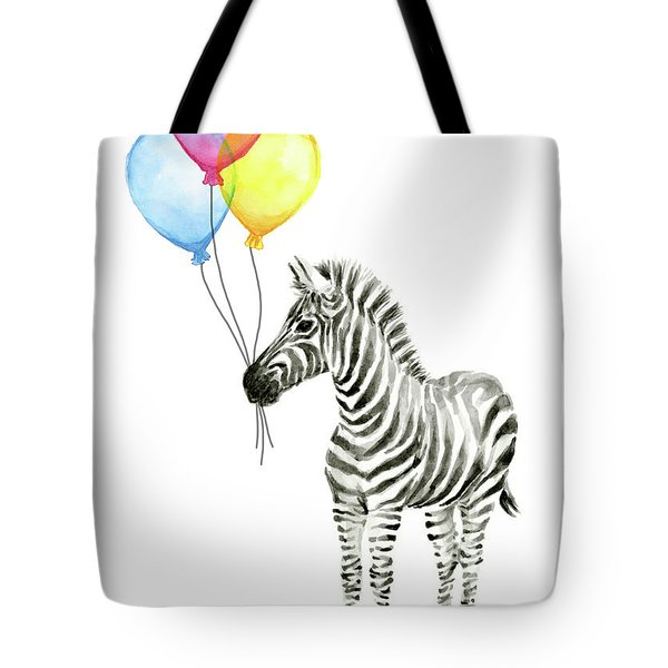 Zebra Watercolor With Balloons Tote Bag