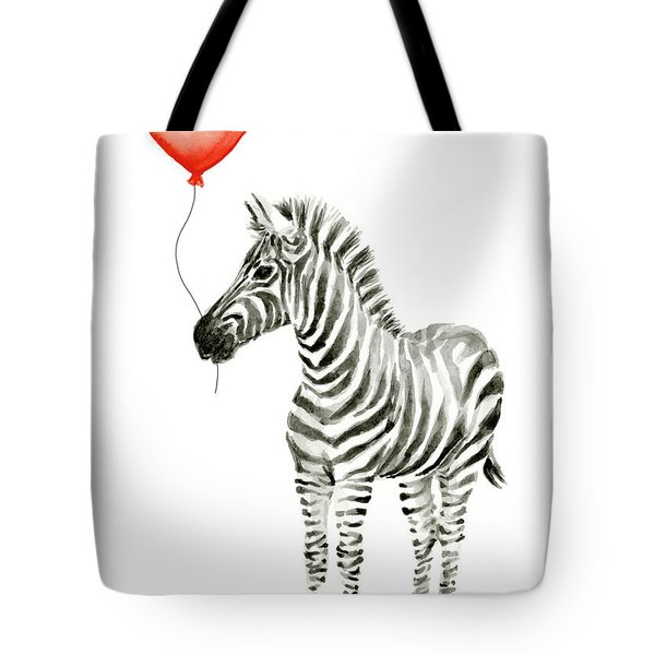 Zebra With Red Balloon Whimsical Baby Animals Tote Bag