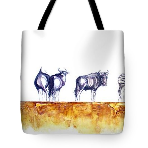 Zebras And Wildebeest 2 Tote Bag