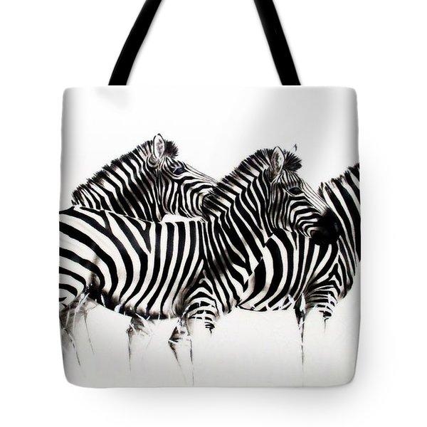 Zebras - Black And White Tote Bag