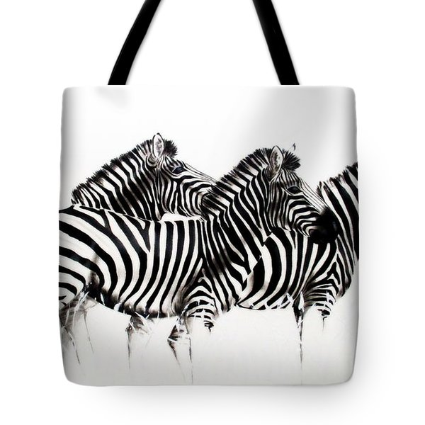 Zebras - Black And White Tote Bag