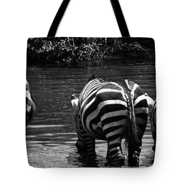 Zebras Cautiously Drinking Tote Bag by Darcy Michaelchuk