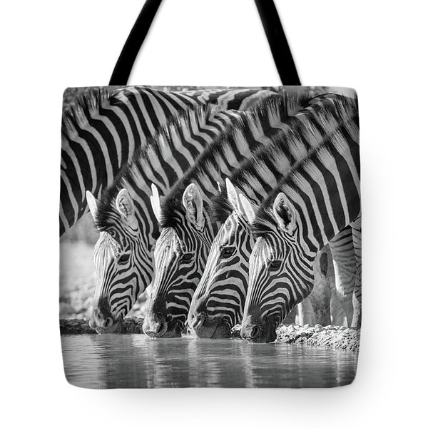 Zebras Drinking Tote Bag by Inge Johnsson