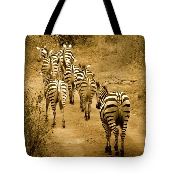 Zebras Heading Home - Antique Tote Bag