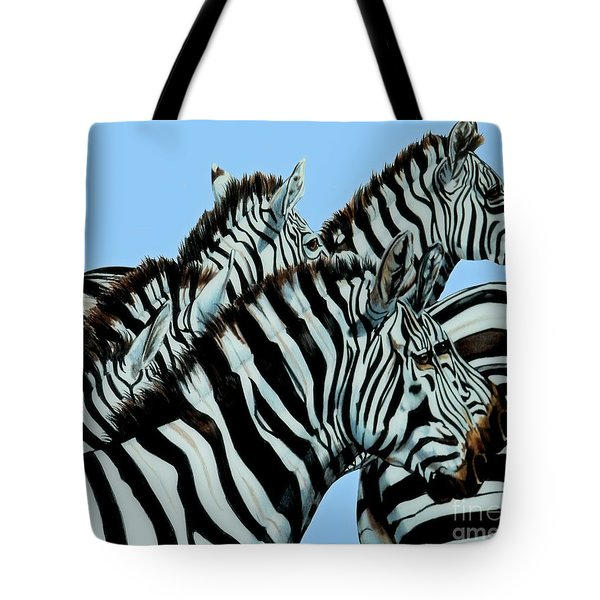 Zebra's In A Herd Tote Bag