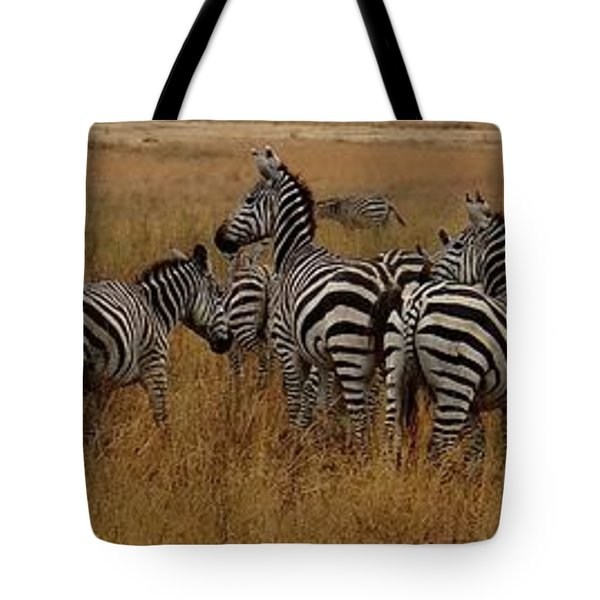 Zebras In The Grass - Panoramic Tote Bag