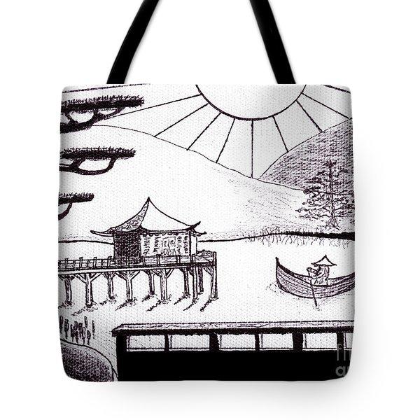 Zen Lake Original Black Ink On White Canvas By Ricardos Tote Bag by Ricardos Creations