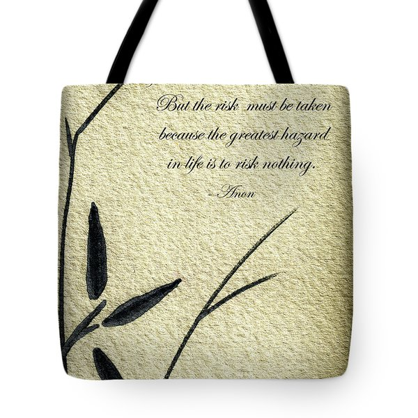 Zen Sumi 4n Antique Motivational Flower Ink On Watercolor Paper By Ricardos Tote Bag