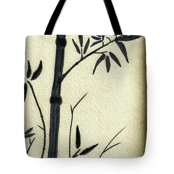 Zen Sumi Antique Bamboo 1a Black Ink On Fine Art Watercolor Paper By Ricardos Tote Bag