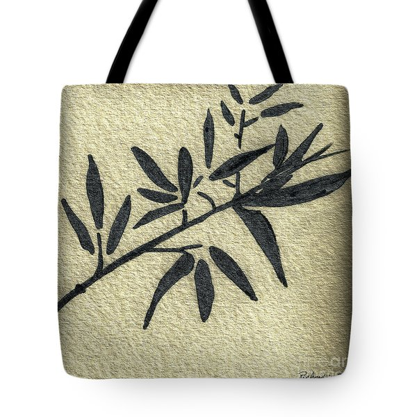 Zen Sumi Antique Botanical 4a Ink On Fine Art Watercolor Paper By Ricardos Tote Bag