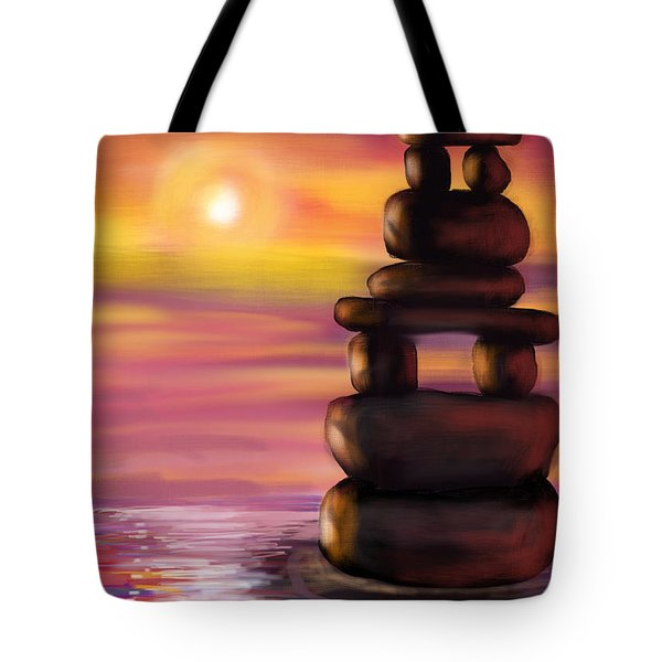 Tote Bag featuring the digital art Zen Sunset by Diana Riukas