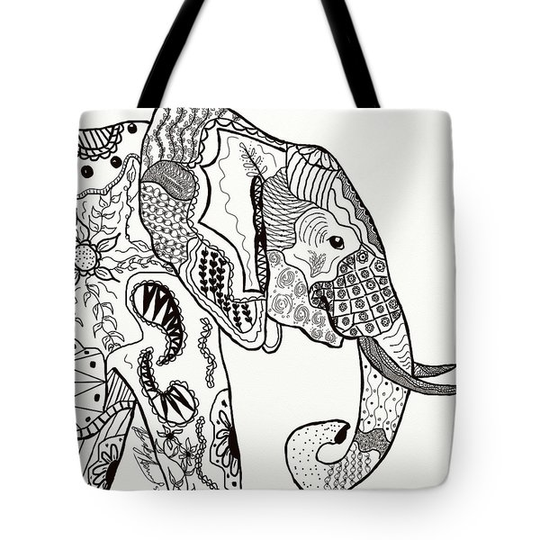 Tote Bag featuring the drawing Zentangle Elephant by Becky Herrera