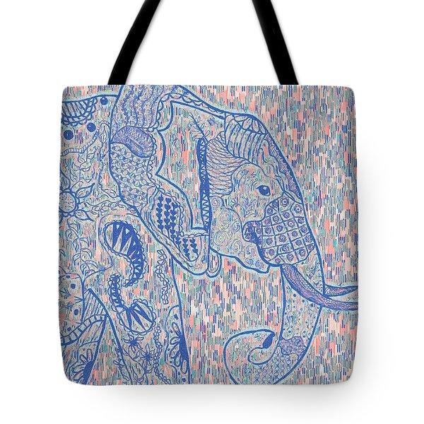 Zentangle Elephant-oil Tote Bag