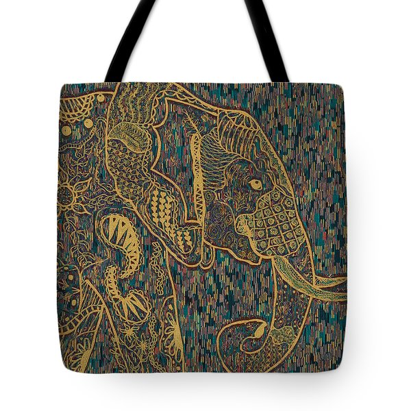 Zentangle Elephant-oil Gold Tote Bag
