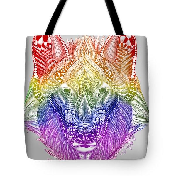 Zentangle Inspired Art- Rainbow Wolf Tote Bag