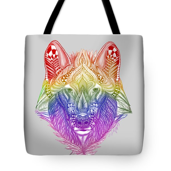 Zentangle Inspired Art- Rainbow Wolf Tote Bag