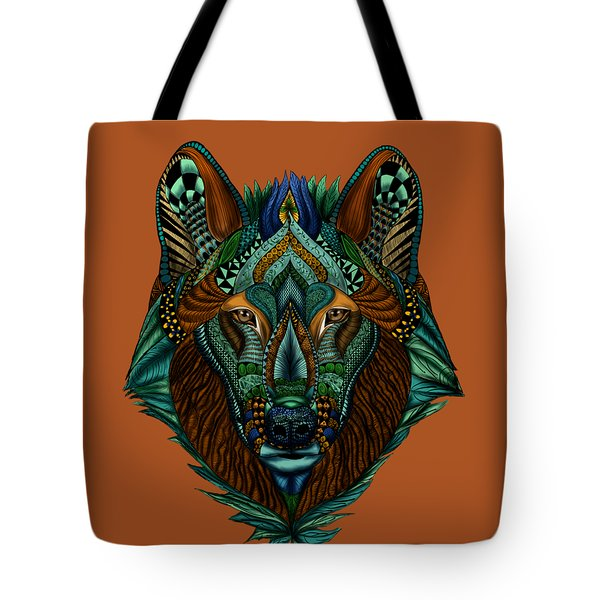 Zentangle Inspired Art- Wolf Colored Tote Bag