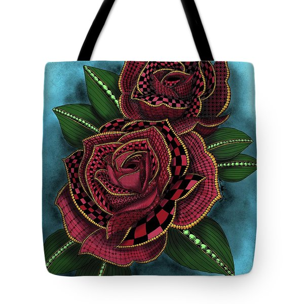 Tote Bag featuring the painting Zentangle Tattoo Rose Colored by Becky Herrera