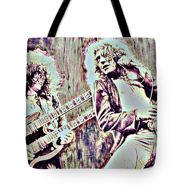 Zeppelin Concert On Wood  Tote Bag