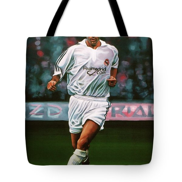 Zidane At Real Madrid Painting Tote Bag
