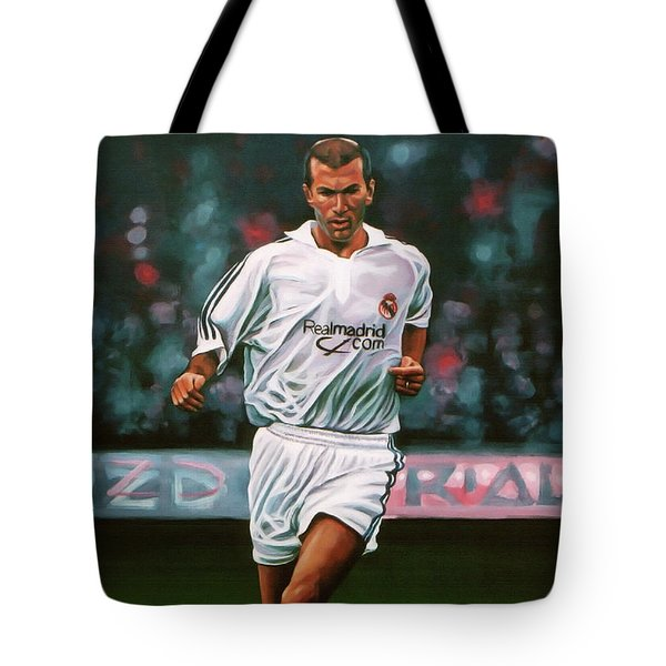 Zidane At Real Madrid Painting Tote Bag by Paul Meijering