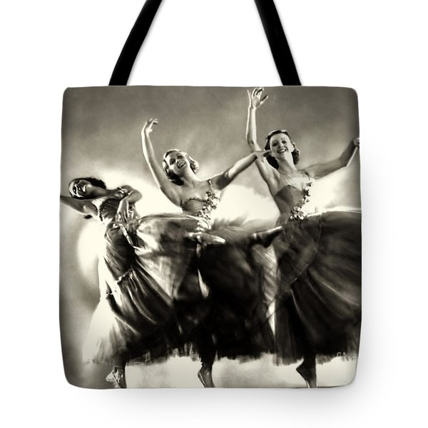 Ziegfeld Model  Dancers By Alfred Cheney Johnston Black And White Ballet Tote Bag