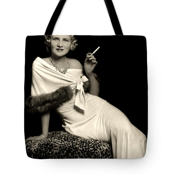 Ziegfeld Model Reclining In Evening Dress  Holding Cigarette By Alfred Cheney Johnston Tote Bag