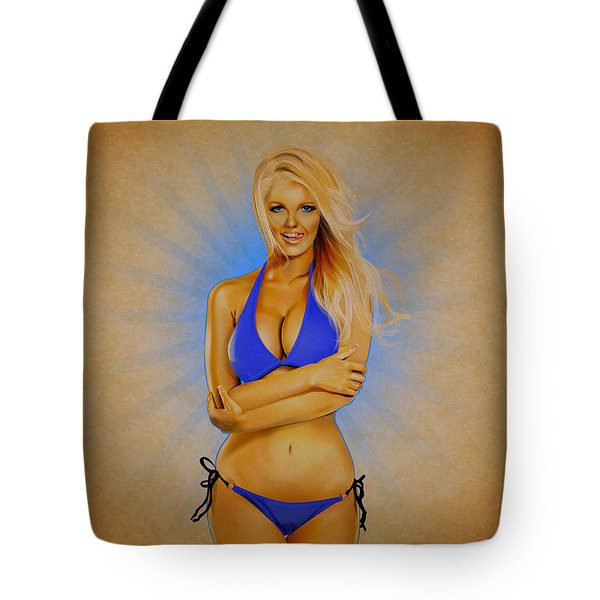 Zienna, Cheeky In Blue 2 Tote Bag by Brian Gibbs