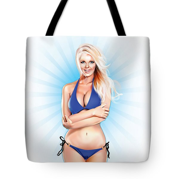 Zienna, Cheeky In Blue Tote Bag by Brian Gibbs