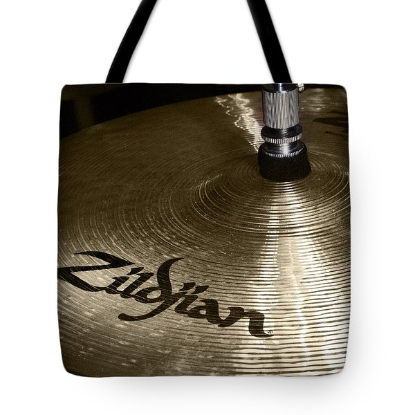 Tote Bag featuring the photograph Zildjian Cymbal by Jim Mathis