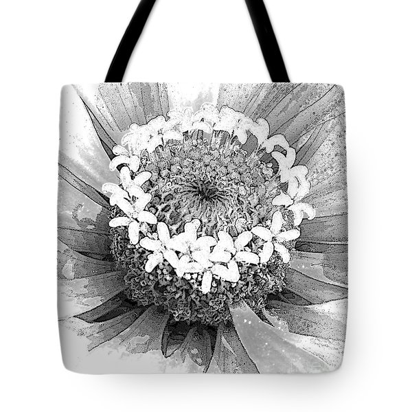 Tote Bag featuring the photograph Zinnia, Black And White by Jeanette French