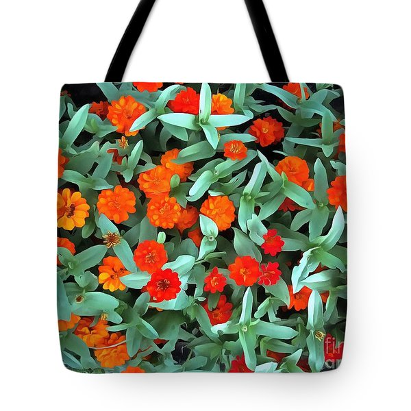 Tote Bag featuring the photograph Zinnia Flower - Profusion Orange by Janine Riley