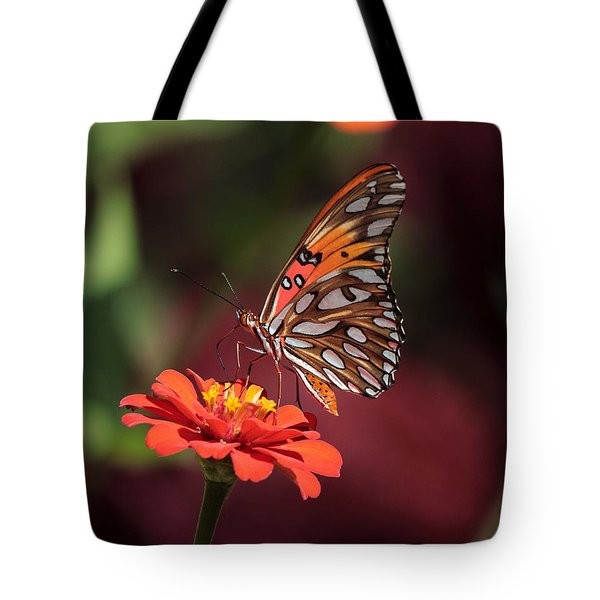 Zinnia With Butterfly 2668 Tote Bag