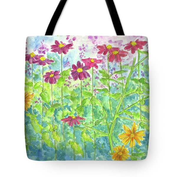 Tote Bag featuring the painting Zinnias  by Cathie Richardson