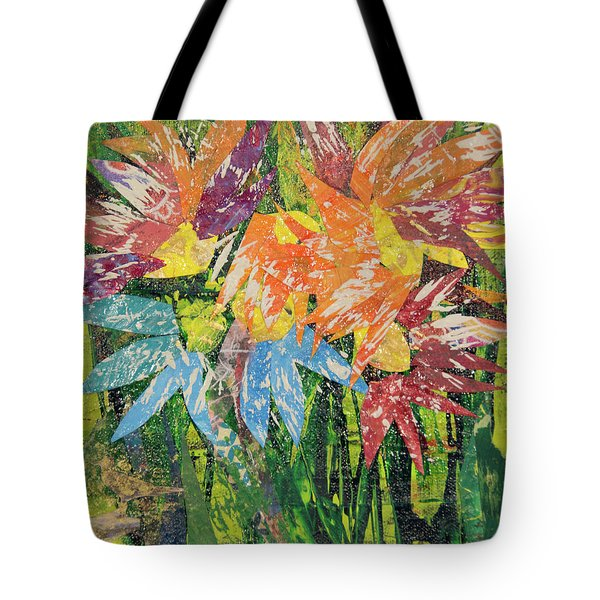 Zinnias Gone Mad Tote Bag