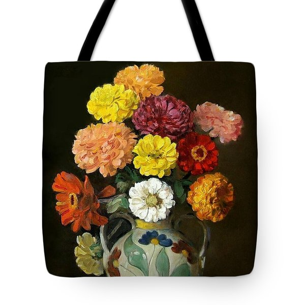 Zinnias In Decorative Italian Vase Tote Bag