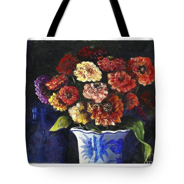 Zinnias Tote Bag by Marlene Book