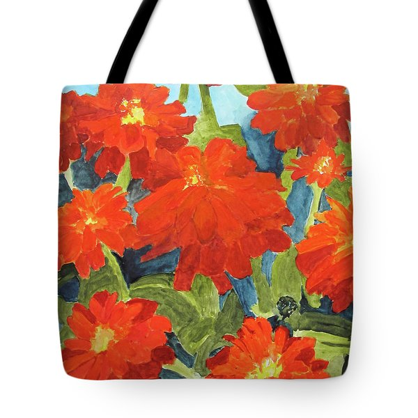 Tote Bag featuring the painting Zinnias by Sandy McIntire