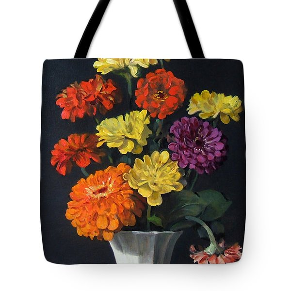 Zinnias Showing Their True Colors In White Vase Tote Bag