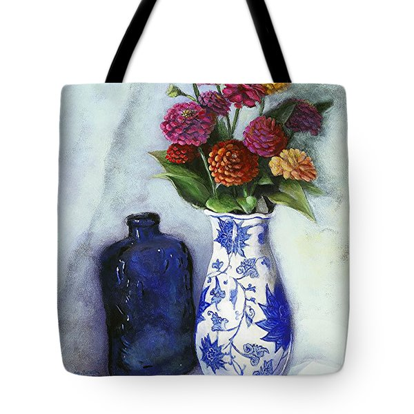 Zinnias With Blue Bottle Tote Bag