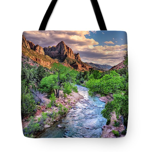 Zion Canyon At Sunset Tote Bag
