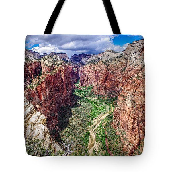 Zion Canyon From Angel's Landing Panoramic Tote Bag