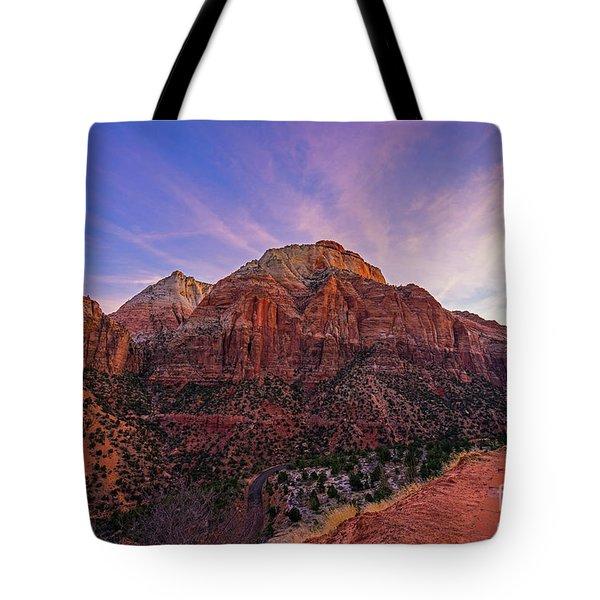 Zion National Park East Temple Sunrise Light Tote Bag