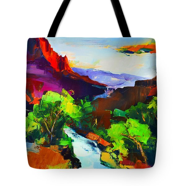 Tote Bag featuring the painting Zion - The Watchman And The Virgin River by Elise Palmigiani