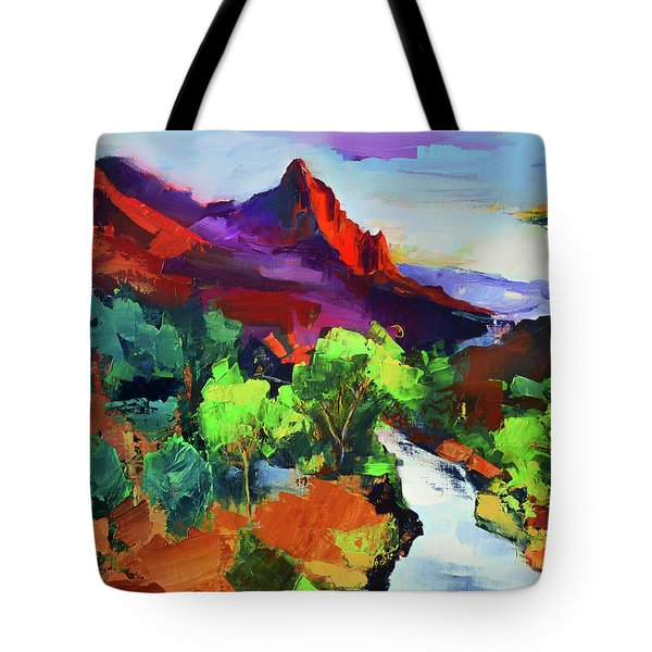 Tote Bag featuring the painting Zion - The Watchman And The Virgin River Vista by Elise Palmigiani