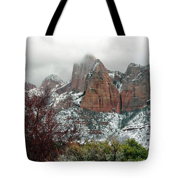 Zion Winter Skyline Tote Bag